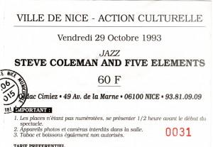 Steve Coleman octobre 1993